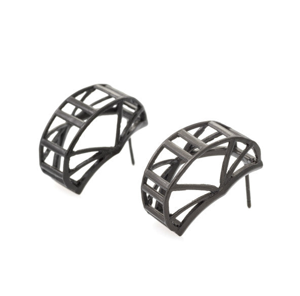RAIL Earings 925 Silver with Black Rhodium