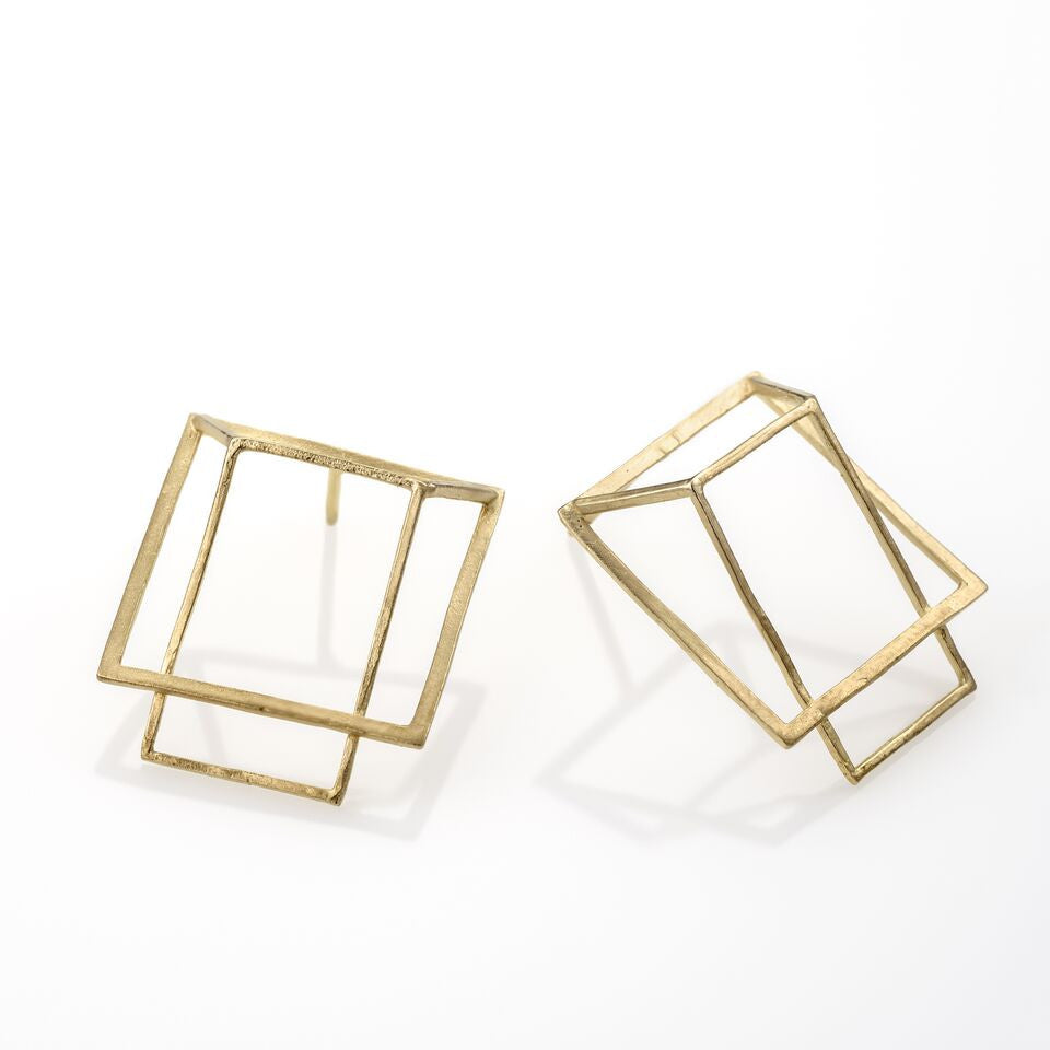 HOT BOX Earrings 925 Silver Plated With 14K Gold