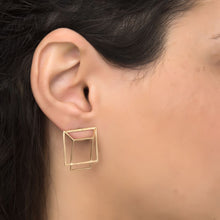 HOT BOX Earrings Plated With 14K Gold