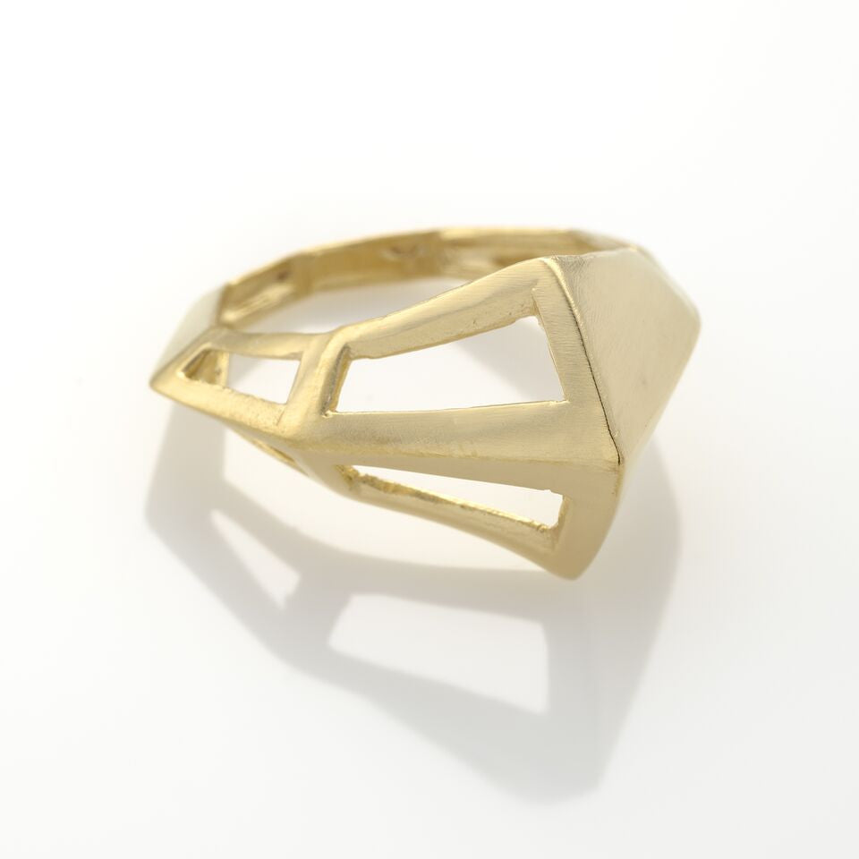 HALF FOOL Ring, Plated with 14K Gold