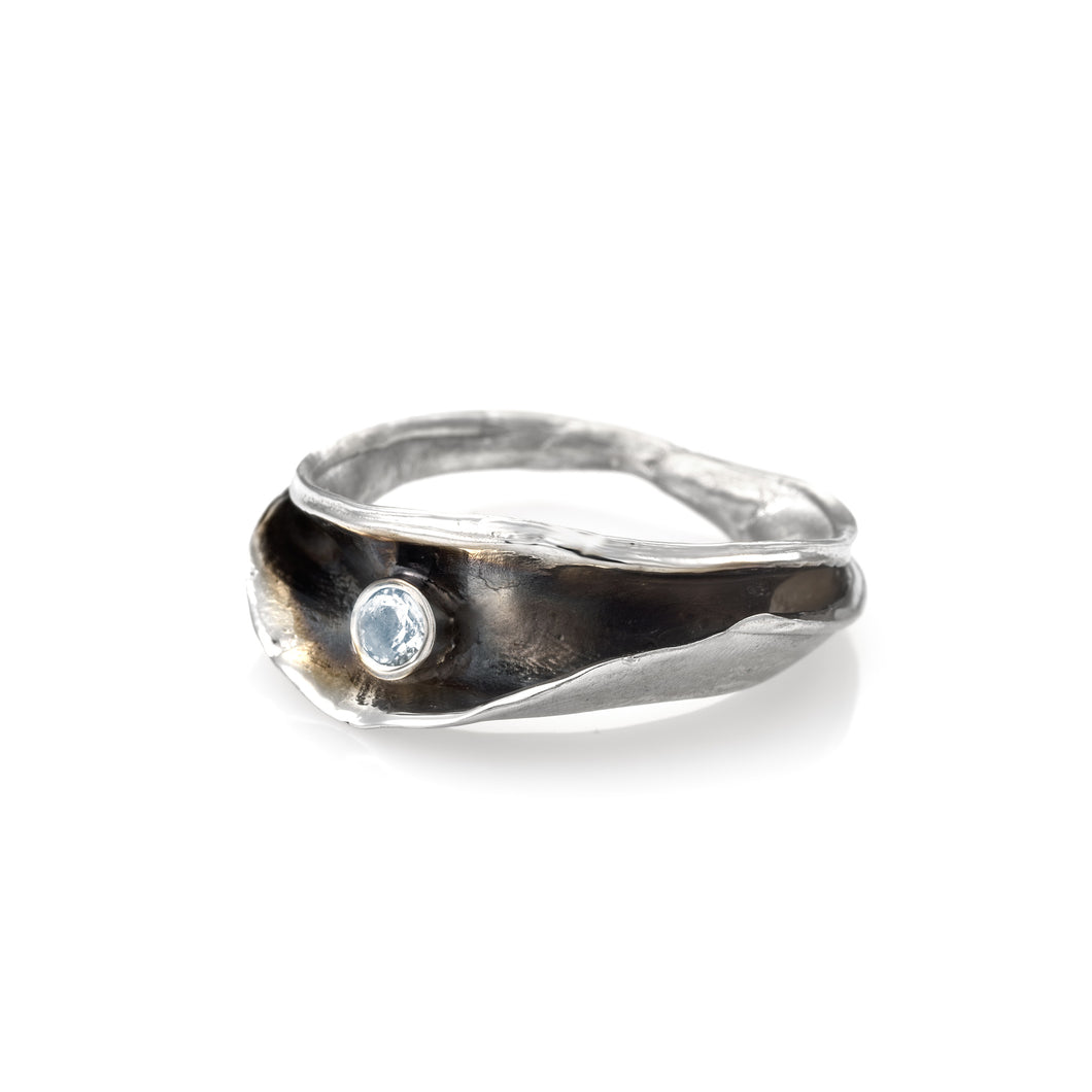 OYSTER ROCK 925 Silver Plated With White Rhodium Set With Blue Topaz