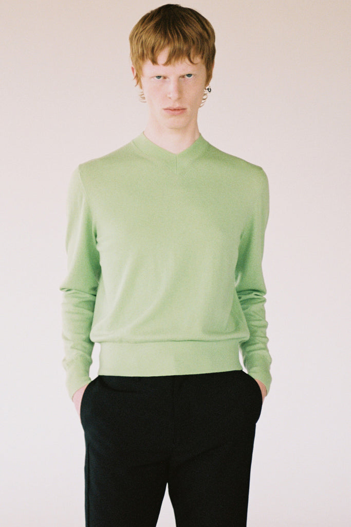 Green Merino Wool V-mockneck Sweater