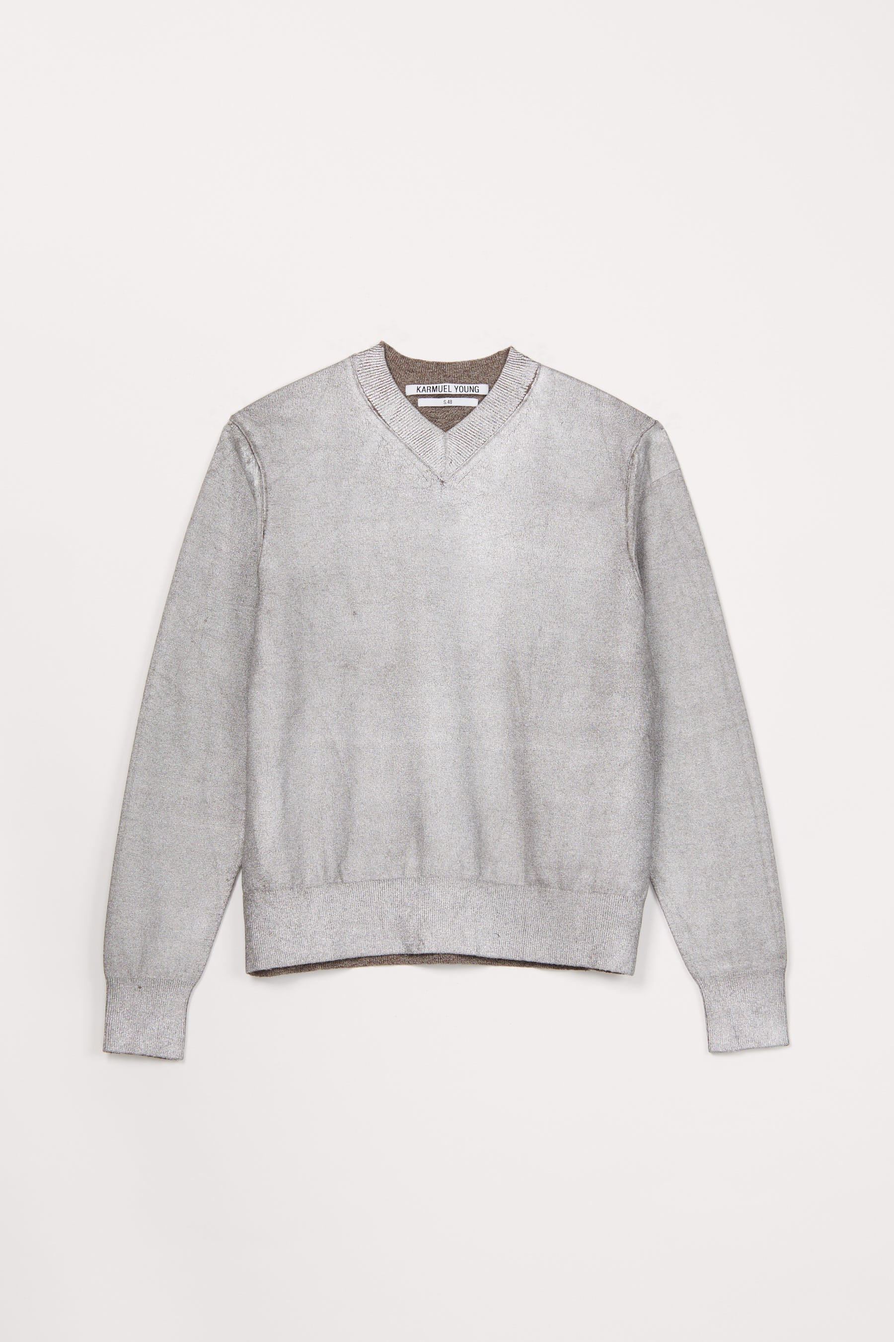 Silver Foiled Merino Wool V-mockneck Sweater