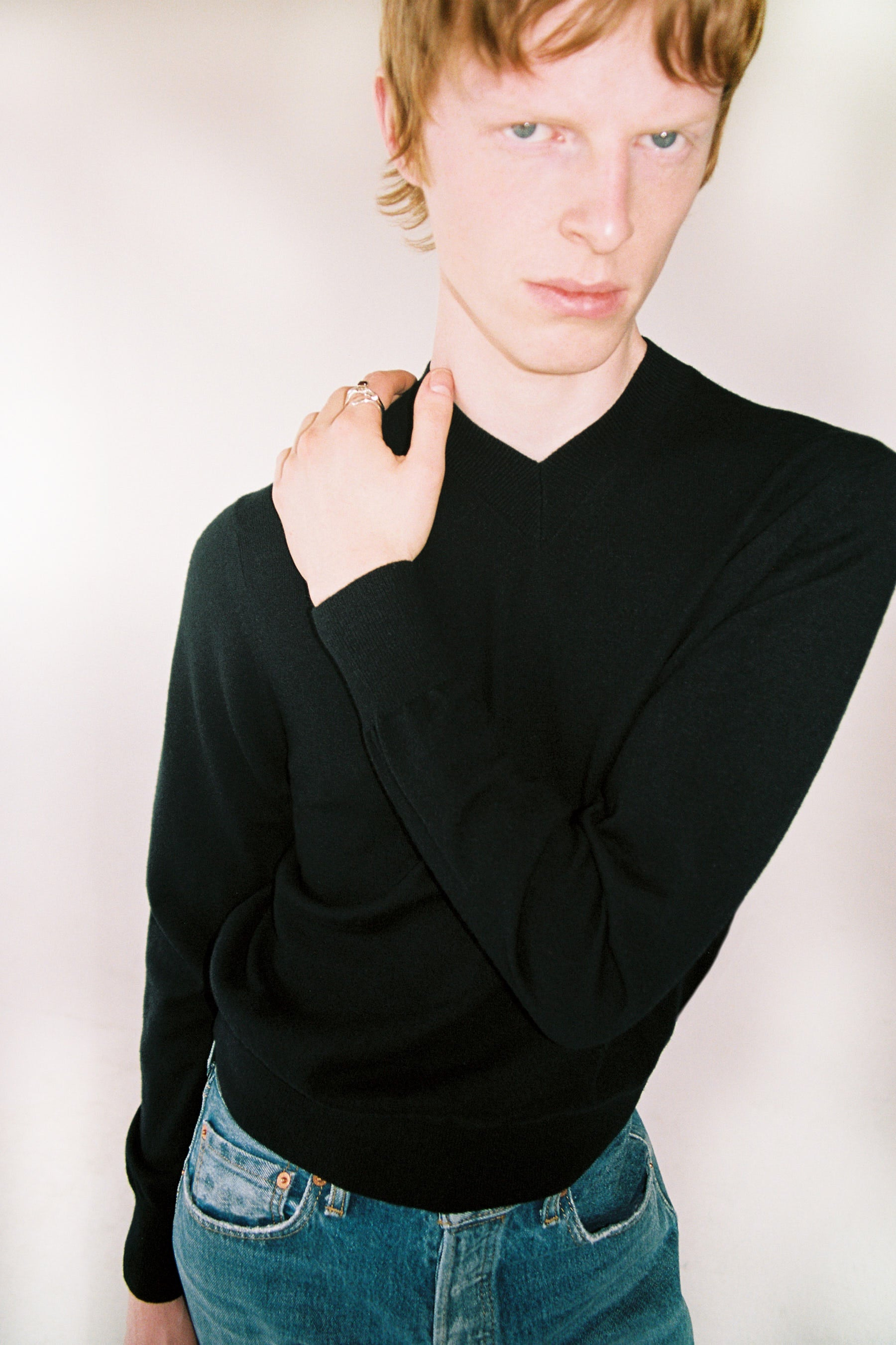 Black Merino Wool V-mockneck Sweater