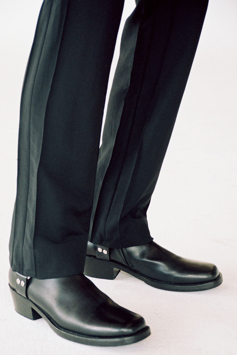 Black Woollen Mohair Cuboid Tailored Pants