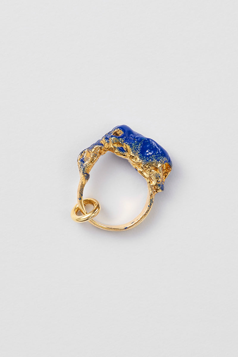 Blue Enamel Meteorite Gold Ring