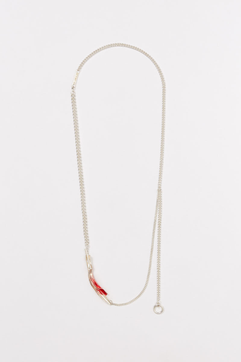 Red Enamel Tag Pendant Silver Shirt Chain