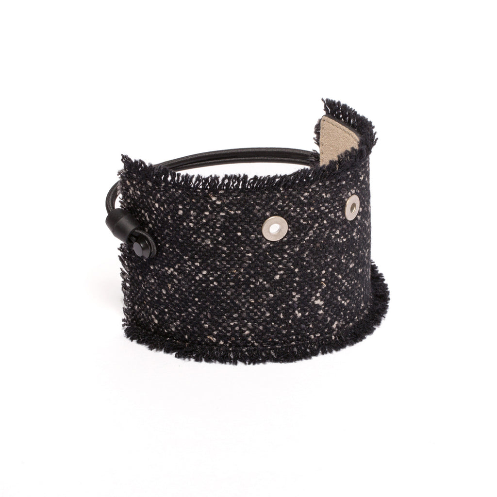 SC-65<br>Shoe Cuff in 65mm width<br>Black Woolen Silk Fabric