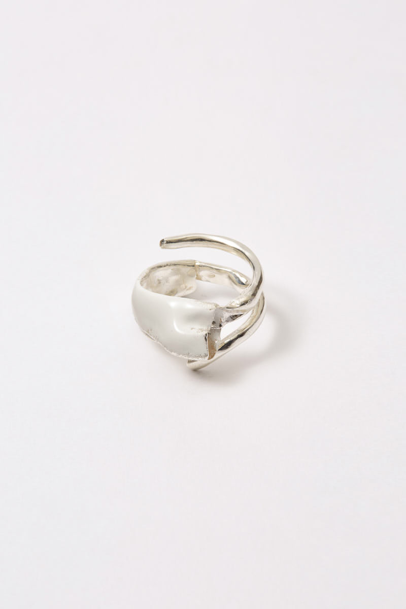 White Enamel Spiral Silver Shirt Ring