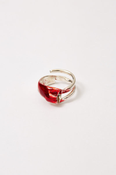 Red Enamel Spiral Silver Shirt Ring