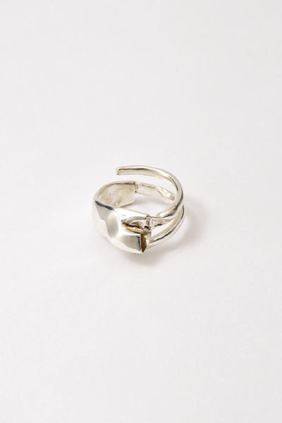 Hammer-crafted Spiral Silver Shirt Ring