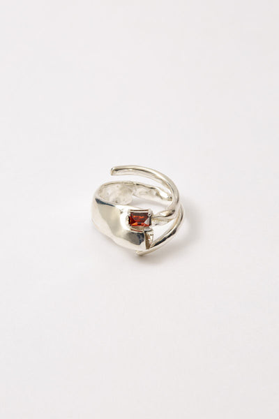 Spiral Silver Shirt Ring with Garnet