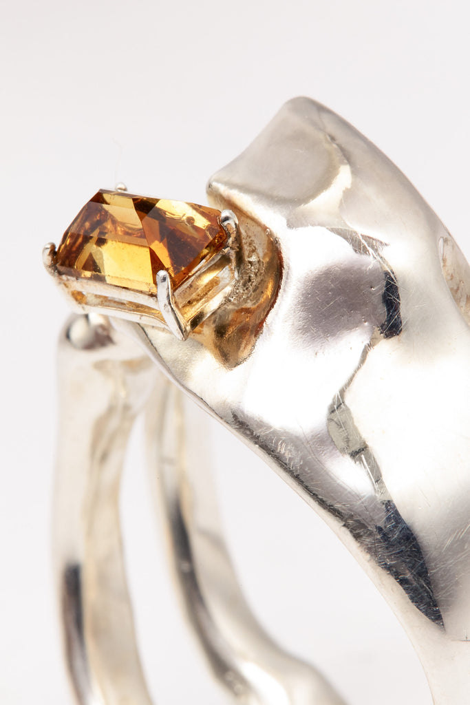 Spiral Silver Shirt Ring with Citrine