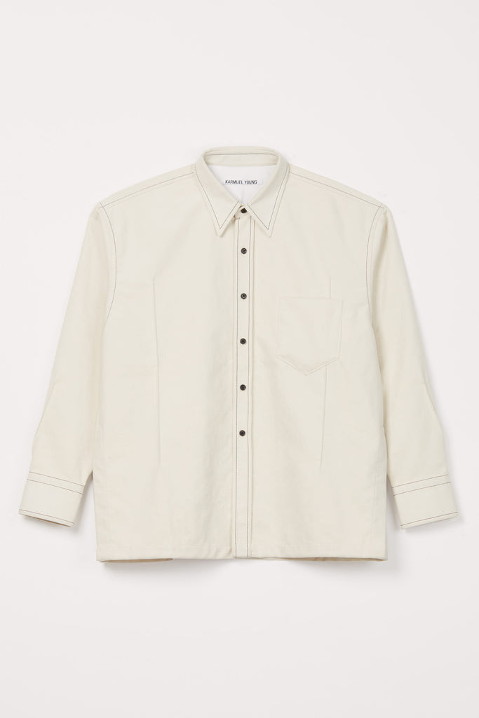 White Fauxed Suede Cuboid Overshirt