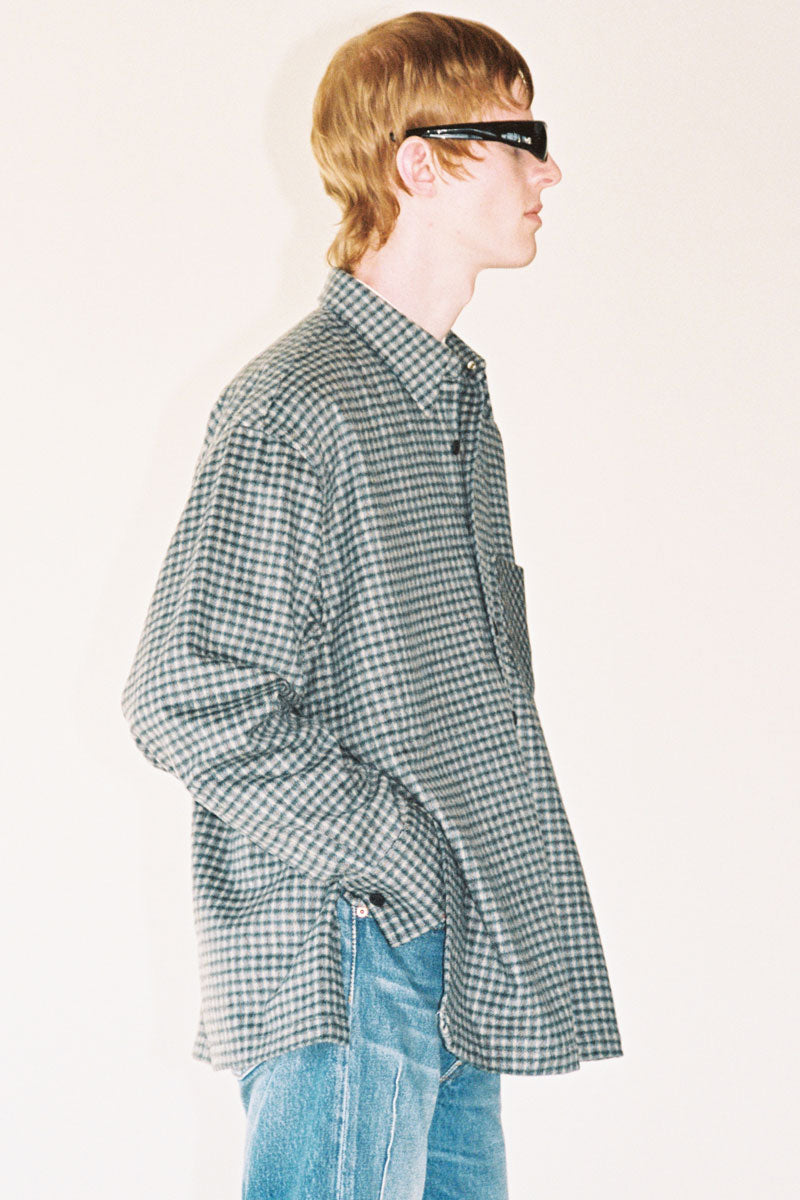 Dark Green Check Woollen Square Overshirt