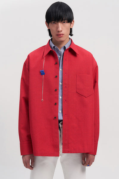 Red Woollen Square Overshirt