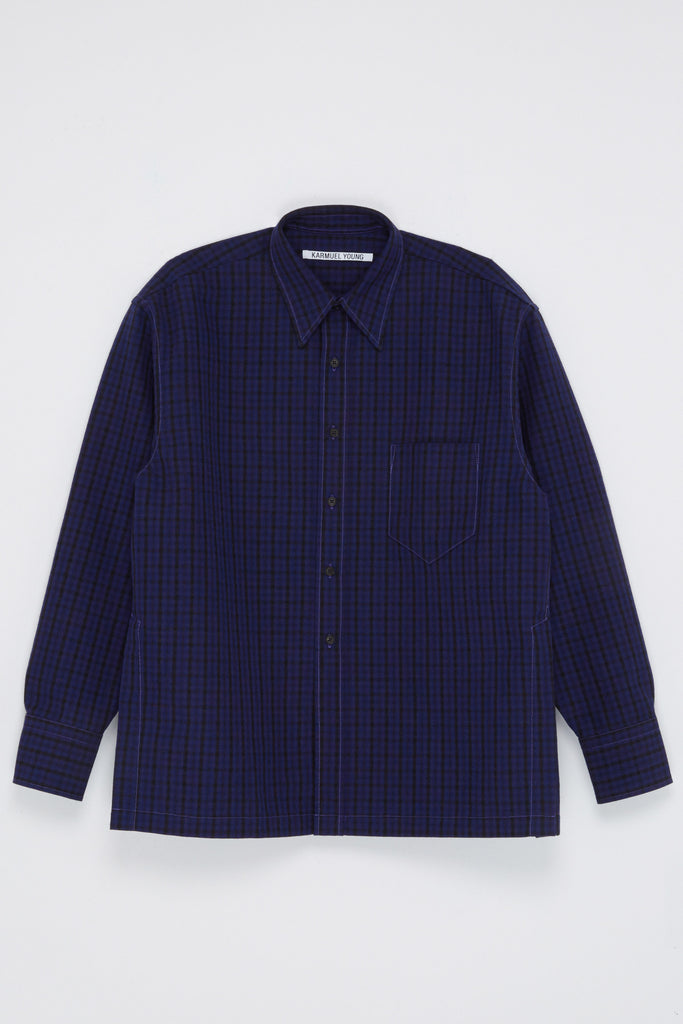 Navy Woollen Square Overshirt