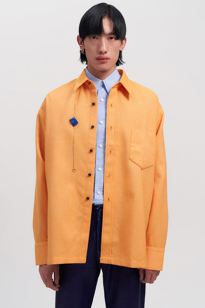 Orange Woollen Square Overshirt