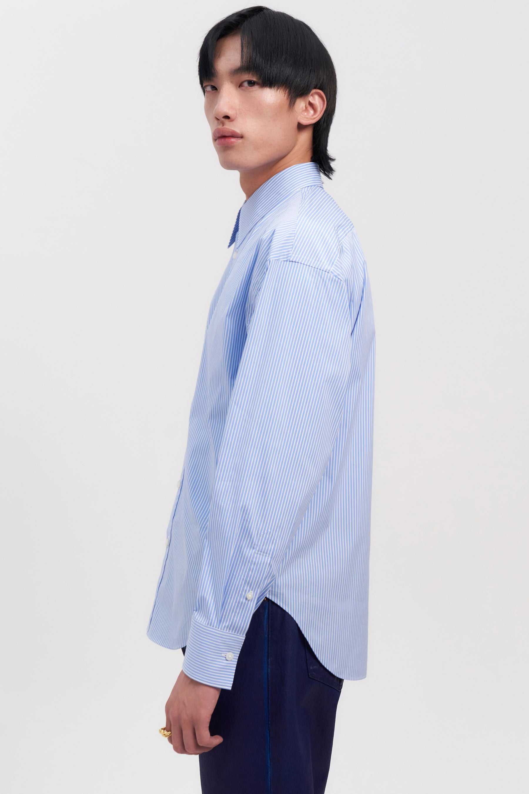 Light Blue Stripe Trapezium Shirt