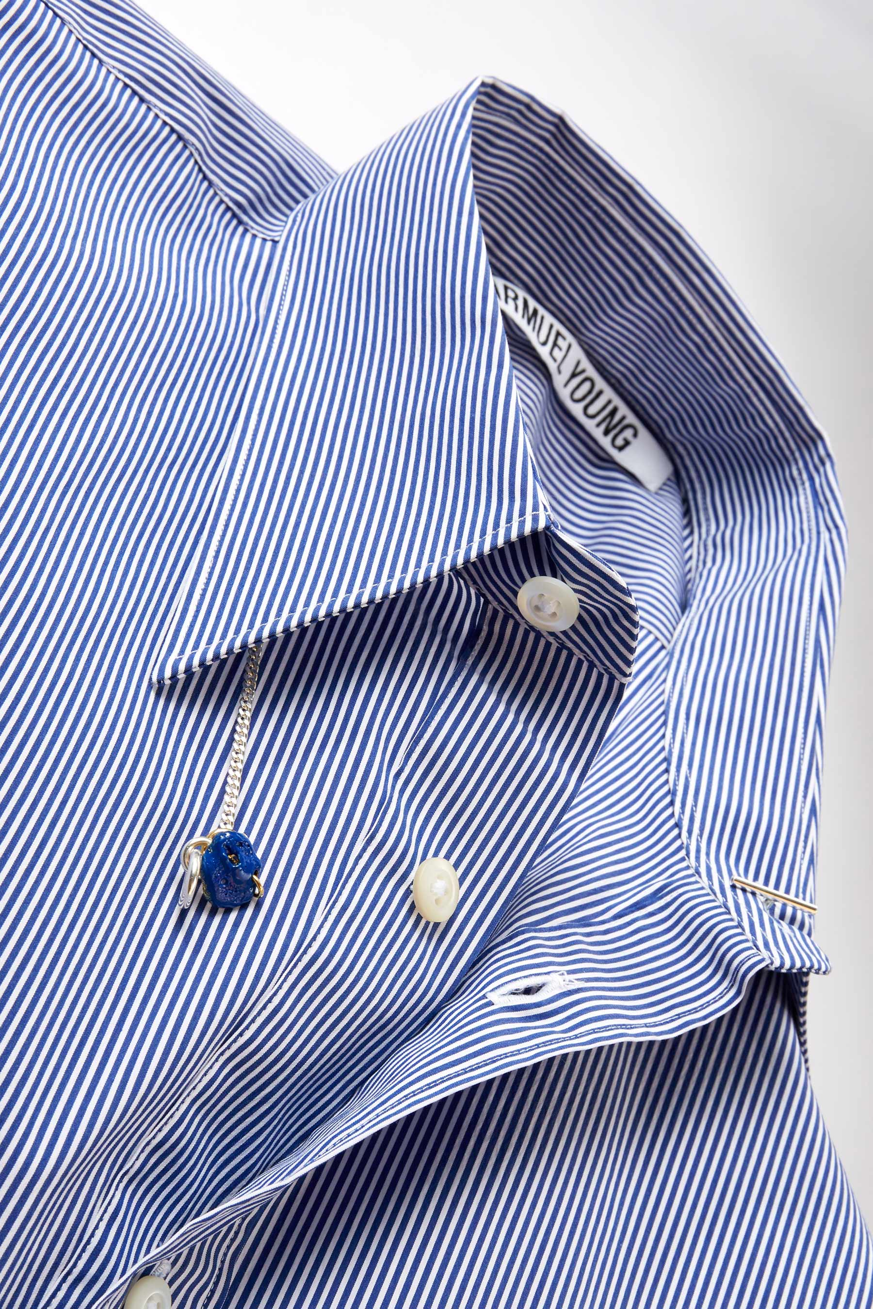 Navy Stripe Trapezium Shirt