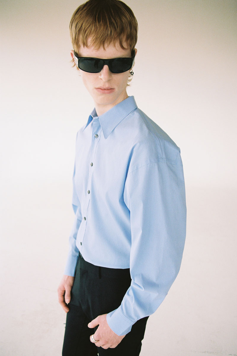 Light Blue Pinstripe Trapezium Shirt