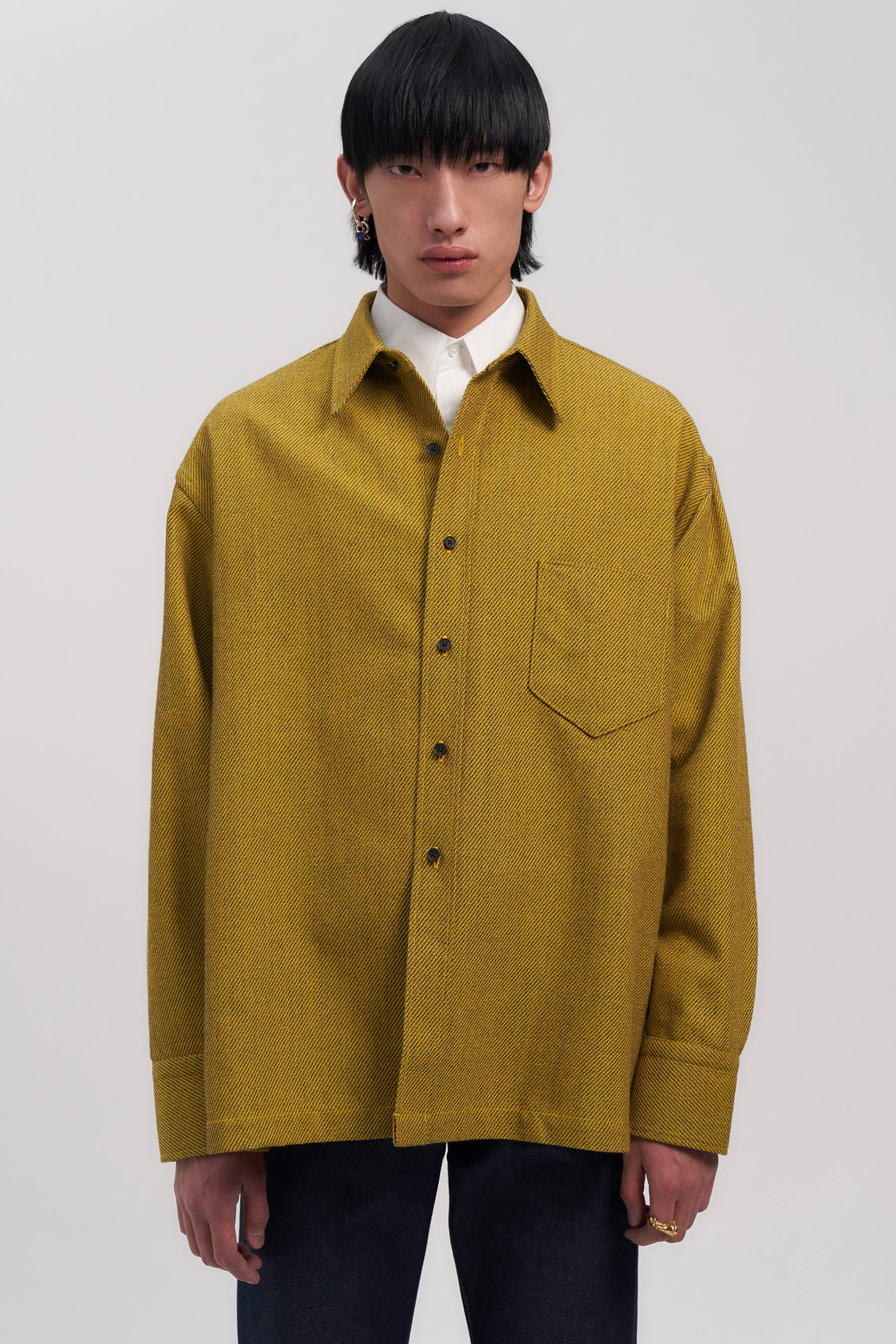 Yellow Woollen Square Overshirt