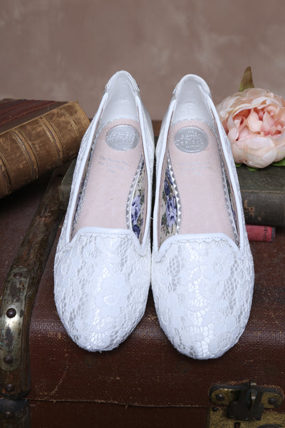 Alice vintage inspired flat shoe by the perfect bridal company for pink daisy bridal