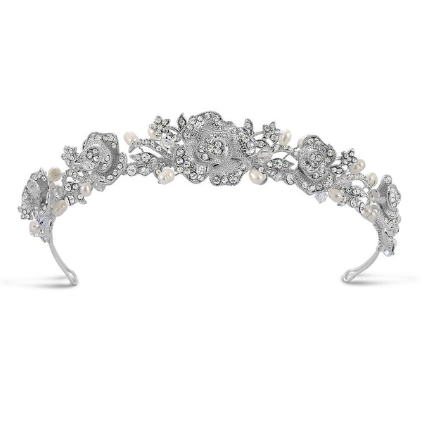 Angelique Pearl & Diamante Traditional Tiara by Starlet Jewellery for Pink Daisy Bridal