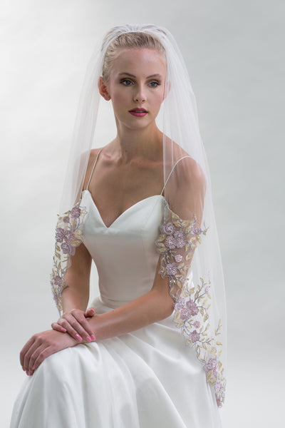 Anzio is Soft Flower Lace Embroidery Veil by Joyce Jackson