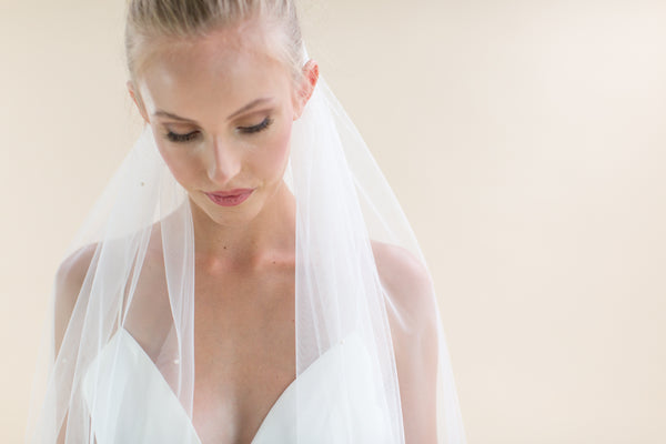 "Rainbow Club's Avalanche is a single tier 88"" bridal veil. Handmade hand cut edge & scattered pearls"
