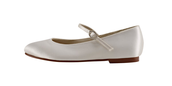 Binx ivory satin ballet pumps by Rainbow Club for Pink Daisy Bridal