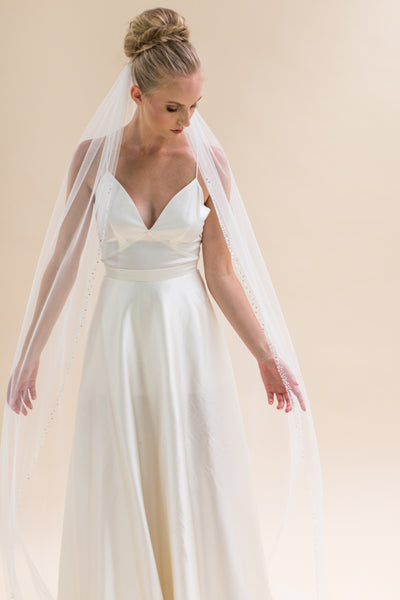 "Rainbow Club Bluebell is a full length 96"" single tiered veil with a diamante & crystal beaded edge"