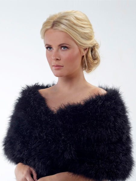 Marabou Shoulder Bolero BOL-05 by Poirier with a clip fastener on both the front and the middle