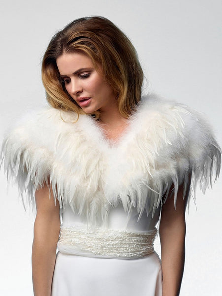 beautiful Marabou feather Bolero Bol-16 by Poirier from Jupon, with a closure on the mid front area