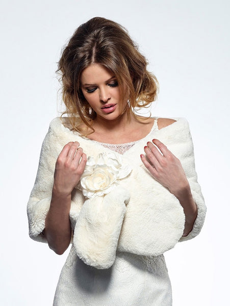Teddy Bear Fake Fur Bolero BOL-52 by Poirier from Jupon, making this a stunning Bolero