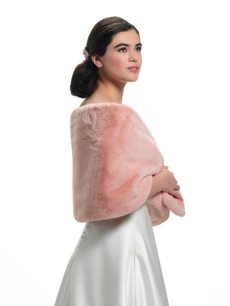 Teddy Bear Fake Fur Bolero BOL-52 by Poirier from Jupon, making this a stunning Bolero made in Rose