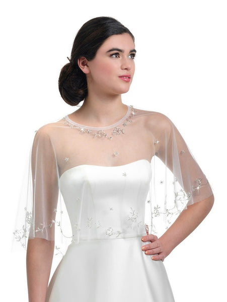 Poirier Bridal Cape with sequins and crystals C140-050 by Jupon is a luxurious bridal cape