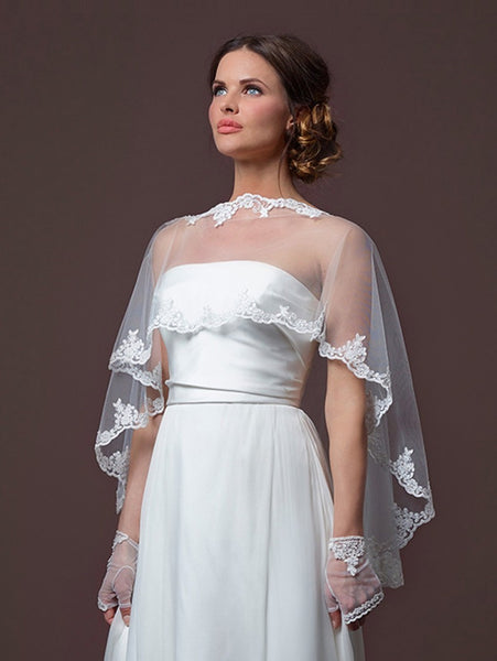 This Poirier Soft Tulle Bridal Cape C50-090 by Jupon is a beautiful, soft Bridal Cape for you
