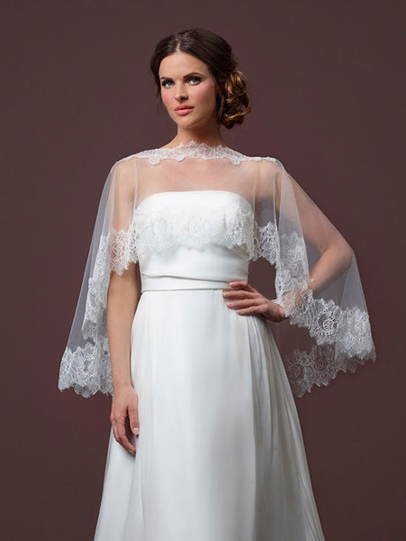 Poirier Soft Tulle Bridal Cape C90-090 by Jupon is a soft tulle cape is made from luxury Paris lace