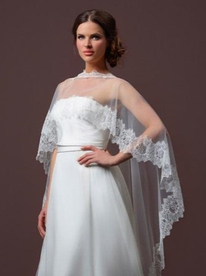 Poirier Soft Tulle Bridal Cape With Train C90-200 by Jupon a soft tulle cape featuring luxury lace