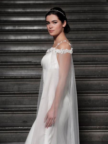 Poirier off the Shoulder Ivory Bridal Cape T-113 by Jupon comes decorated with fabric flowers