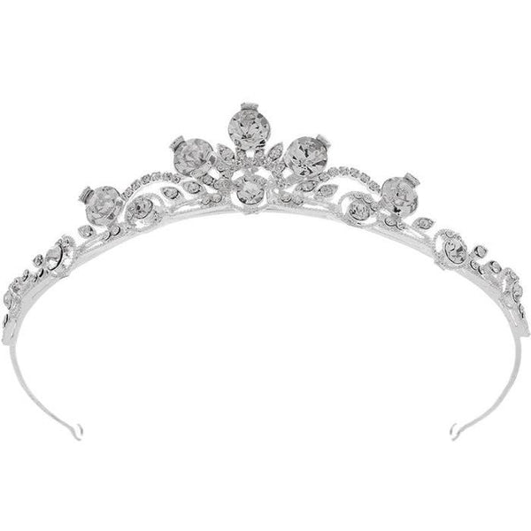 Pink Daisy Bridal the modern and contemporary Carmen Tiara adds an elegant sparkle to any style