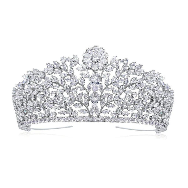 Charlotte Luxury Platinum Plated Tiara is a spectacular & elegant Simulated Diamond Tiara