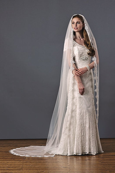 'Claremont' Spiked Lace Edge Wedding Veil