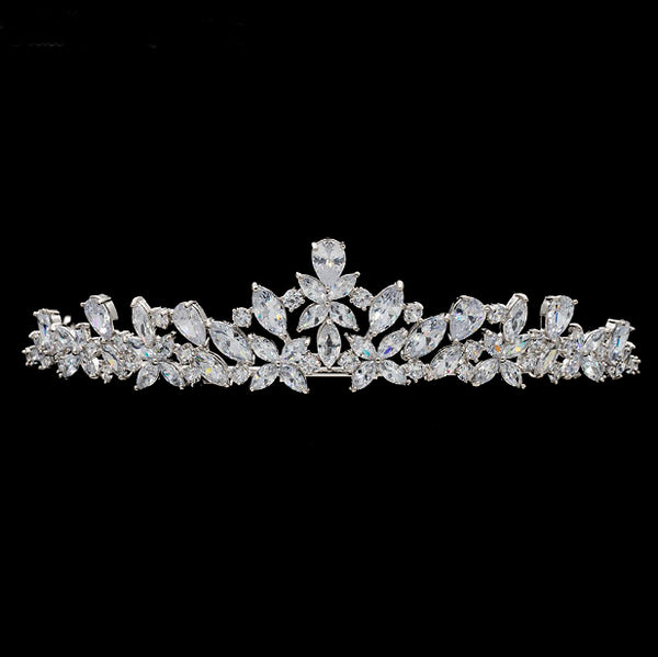 'Flora' Simulated Diamond Traditional Tiara