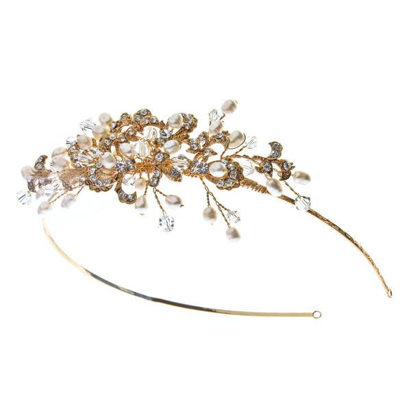 Kensington Side Detail Tiara in deep gold here at Pink Daisy Bridal by Starlet Jewellery.