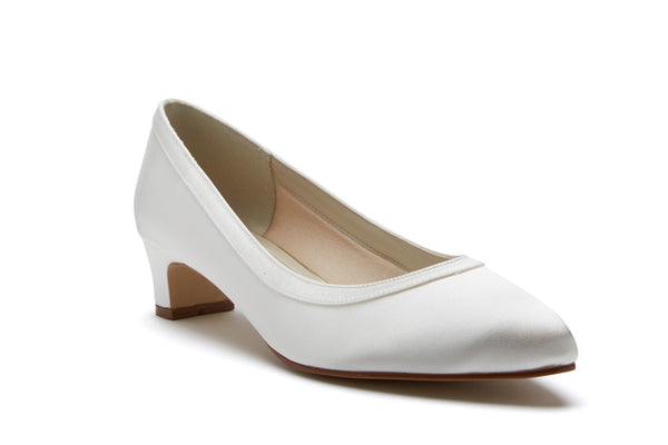 'Gisele' Wide Fitting Ivory Satin Court Shoes UK 7 (EU 40) Sale!