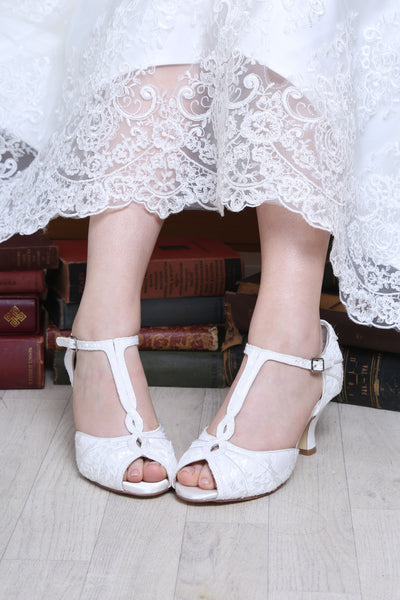 Greta vintage t-bar bridal shoe by the perfect bridal company for Pink Daisy Bridal