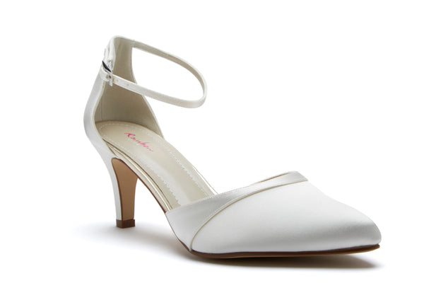 'Harper' Ivory Satin Ankle Strap Shoes UK 4 (EU 37) Sale!