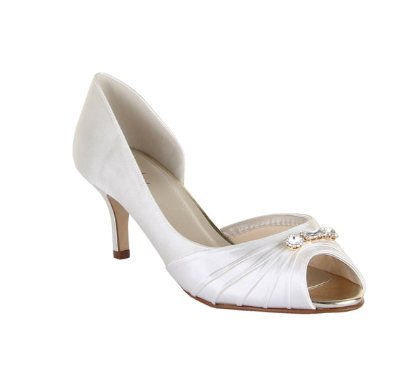 Rainbow Club Arabella peep toe court shoe in ivory satin